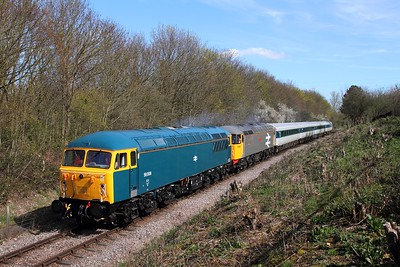 56006+56098 tnt 41001 on the 1M46 1130 Peterborough to Wansford at Orton Mere on the 10th April 2016