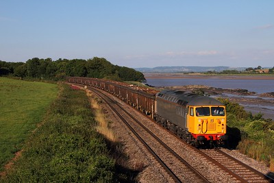 56081 on the 6Z35 1141 Chaddesden to Cardiff Tidal at Purton on the 31st July 2015