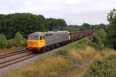 56081 on the 6Z35 Cardiff Tidal to Chaddesden at Bullo Pill on the 26th July 2015