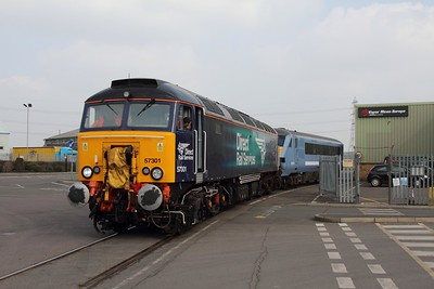 57301+82114 on the 5Z52 Norwich to Loughborough Brush arriving at Brush Loughborough on the 18th March 2015