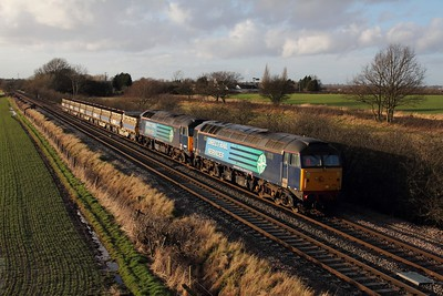 57012 leads 57003 on the 6Z96 Crewe Basford Hall to Toton at Barrow upon Trent on the 11th February 2014