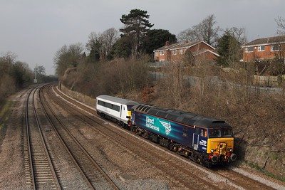 57301 hauls 82143 on the 5Z53 1314 Loughborough Brush to Norwich at Barrow upon Soar on the 18th March 2015