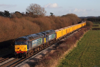 57010 leads 57008 on the 6U77 Mountsorrel to Crewe Basford Hall loaded ballast stone at Barrow upon Trent on the Castle Donnington branch on the 11th February 2014