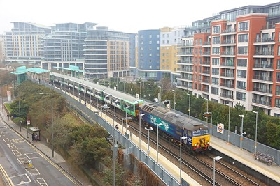 57303 pulling 455855 on the 5Q56 Stewarts Lane to Wolverton at Imperial Wharf on the 3rd March 2018
