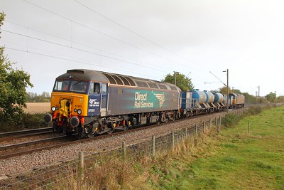 57303 tnt 57306 on the 3S60 Stowmarket to Stowmarket returning from Clacton on Sea at Great Bentley on the 21st October 2017