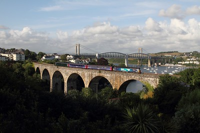 57303 crosses Coombe viaduct, Saltash working the 2C51 1750 Exeter St Davids to Penzance on the 4th July 2015 1