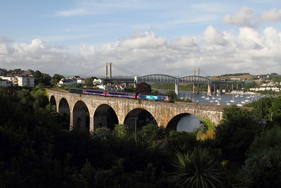 57303 crosses Coombe viaduct, Saltash working the 2C51 1750 Exeter St Davids to Penzance on the 4th July 2015