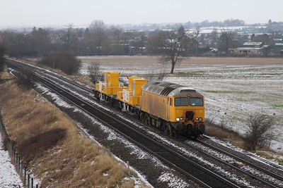 57301 leads the 6Z57 Derby RTC to Tonbridge snow train consisting of two YXA vehicles running over 118minutes late at Sawley, Breaston on the 15th January 2013
