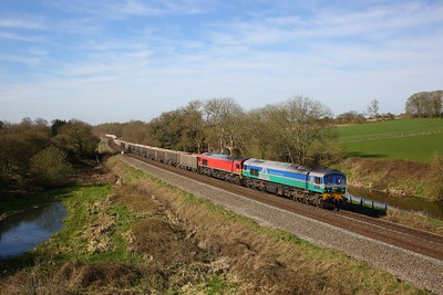 59002+59204 on the 7A09 Merehead to Acton yard at Wotton Rivers on the 23rd March 2020