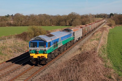 59004 on the 6C54 1214 Oxford Banbury Road to Whatley at Woodborough on the 13th March 2017