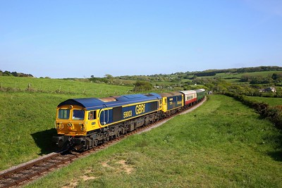 59003+73119 on the 1615 Swanage to Corfe approaching Corfe Common on the 12th May 2019