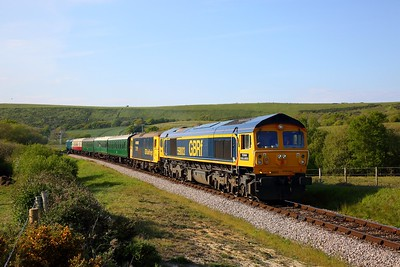 59003+73119 tnt D7535 on the 1739 Corfe to Swanage at Corfe Common on the 12th May 2019