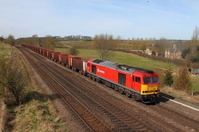 60020 on the 6K23 Santon to Immingham at Knabbs bridge, Melton Ross on the 2nd April 2015