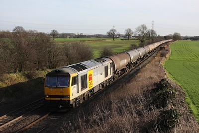 60015 powering the 6E41 Westerleigh to Lindsey at Elford on 24 February 2011  Class60, DBSchenker, BirminghamDerbyline