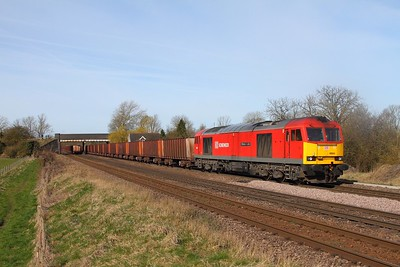 60024 on the 6K22 0942 Santon to Immingham passes 60020 on the 6T23 0955 Immingham to Santon at Melton Ross on the 2nd April 2015