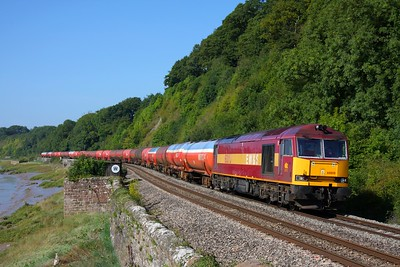 60010 on the 6B13 Robeston to Westerleigh tanks at Gatcombe on the 31st August 2010