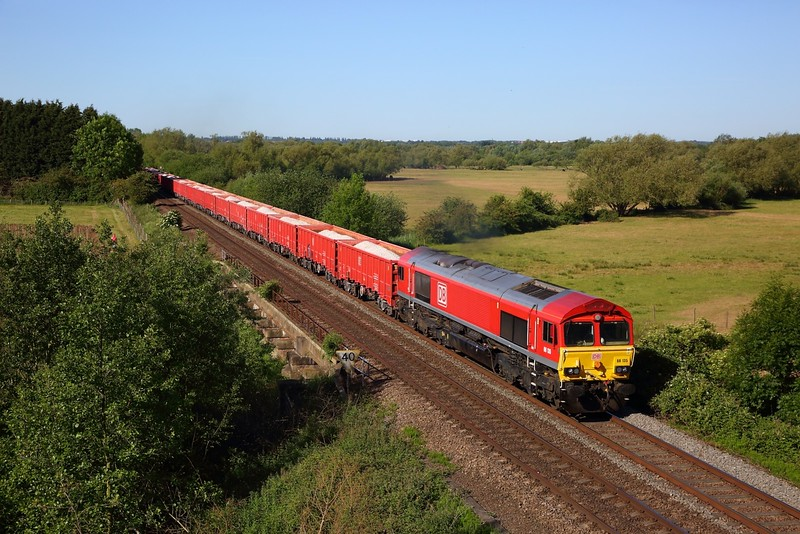 DB Cargo 66135 working the 6Z54 0801 Toton North Yard to Chesterton Jn at Syston north on the Birmingham to Peterborough line on 29 May 2020