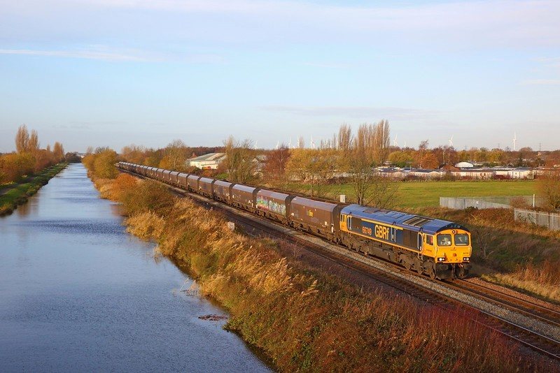 66749 on the 4R75 0505 West Burton to Immingham at Crowle on the 30th November 2018