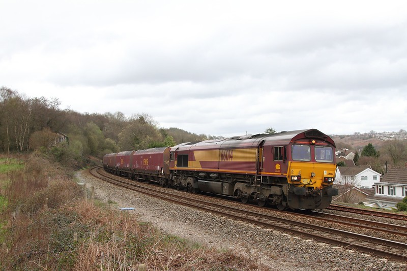 66014 on the Cwmbargoed to Port Tablot at Ystrad Mynach on the 31st March 2017