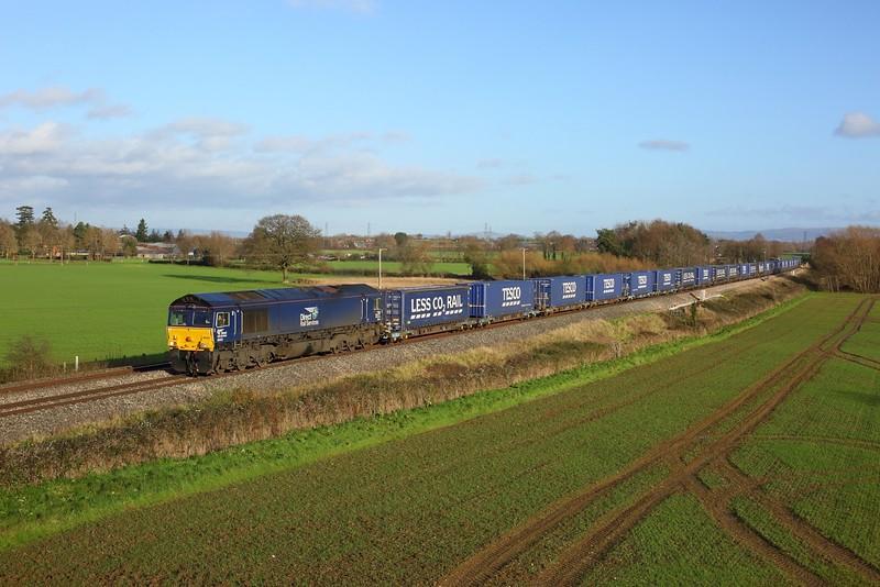 66424 working 4V44 Daventry to Wentloog at Highnam on 15 December 2020  DRS66, GloucesterNewportline