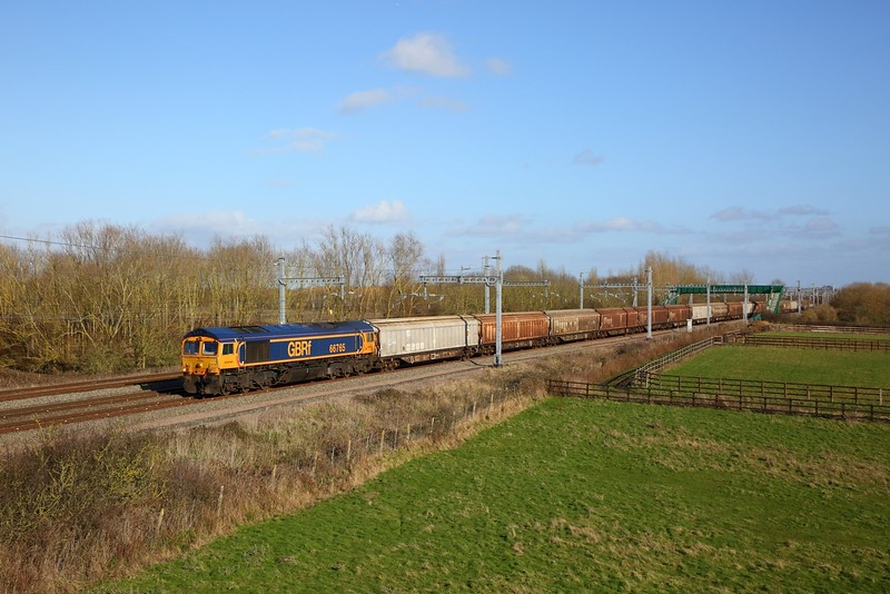 66765 on the 6V32 Tilbury to Trostre at Denchworth on the 8th February 2020