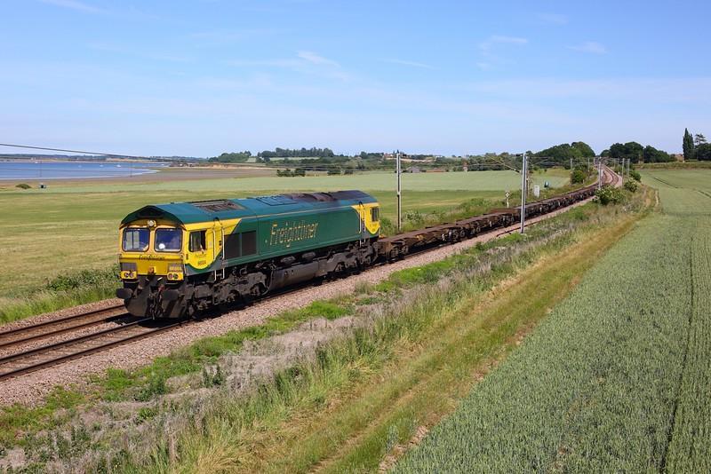 66504 works the 1445 Parkeston SS GBRf to Ipswich S S  at Bradfield near Mistley on Harwich line on 15 June 2020  Freightliner66