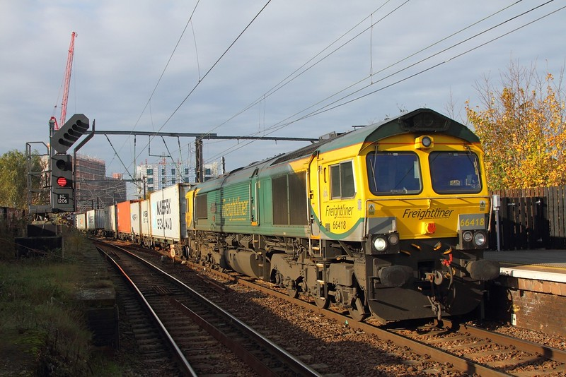 66418 with a Crewe BH to Felixstowe liner at Camden on the 13th November 2017