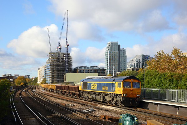 66749 on the 6Y48 Eastleigh to Hoo jnc at Wandsworth Town on the 7th November 2019