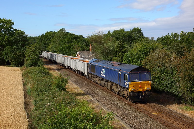 66422 tnt 68026 on 6Z70 0729 Stowmarket to Sizewell noise test run is seen near Saxmundham on 5 August 2020
