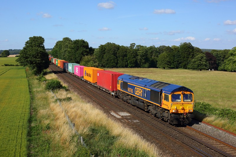 66765 working 4O69 Hams Hall to Southampton Western Docks at Wallers Ash on 17 July 2020  GBRF66, SWML