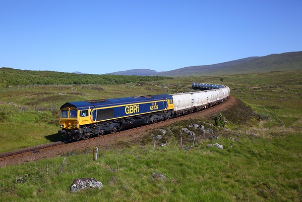 66739 on the 6E45 Fort William to North Blyth approaching Rannoch on the 28th June 2019