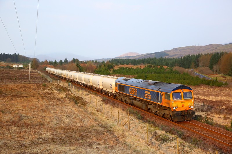 66733 on the 6E45 Fort William to North Blyth at Achnabobane on the 8th April 2019