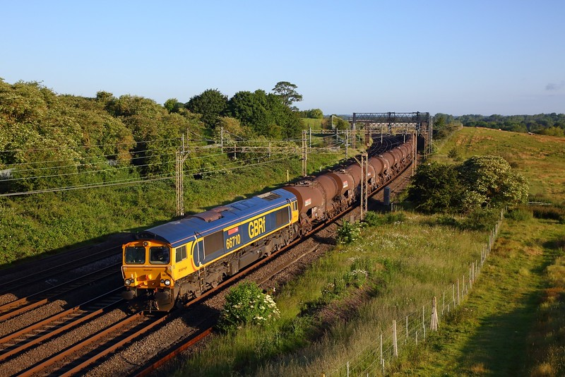 66710 on the 6M74 Irvine to Wembley at Old Linslade on the 21st June 2019