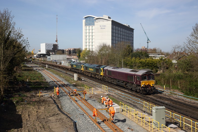66746 leads 66599 and 66565 on the 6Y48 Eastleigh yard to Hoo junction at Feltham passing the new sidings on the 7th April 2020