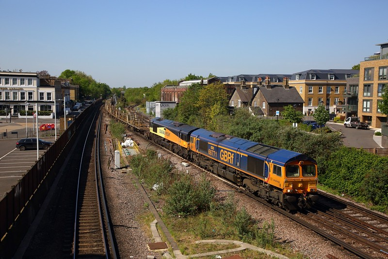 66771 leads 66849 on the 6Y48 Eastleigh to Hoo junction at Twickenham on the 22nd April 2020