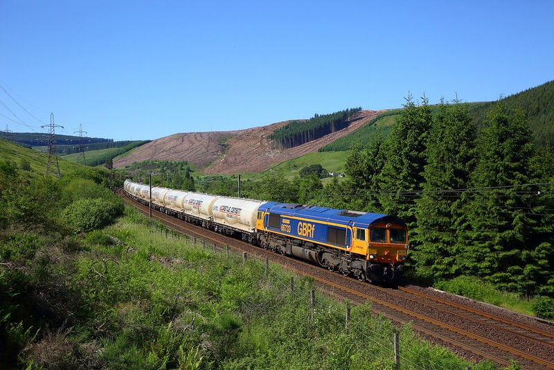 66733 on the 4M01 Mossend to Carlisle empty Clitheroe cement at Greskine on the 27th June 2019