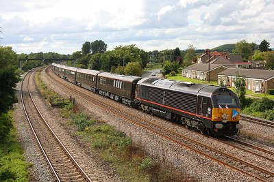 67006 leads 67005 working Carmarthen to Bristol Temple Meads Royal train at Magor on the 7th September 2010