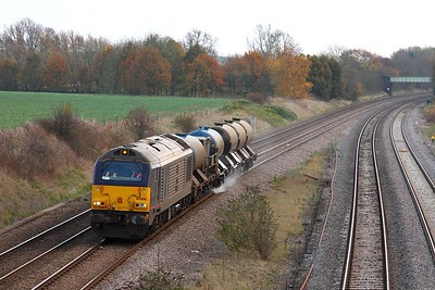 67006 solo on the 3J93 Luton to Toton just north of Loughborough on the 18th November 2014