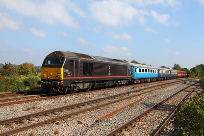 67006 tnt 67023 on the 1Z33 London Paddington to Cardiff Central at Bishton on the 1st October 2015