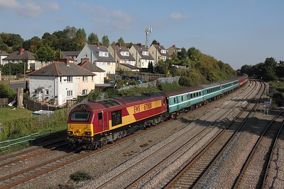 67008 tnt 67013 on the 1Z32 1233 London Paddington to Cardiff Central at Somerton on the 1st October 2015