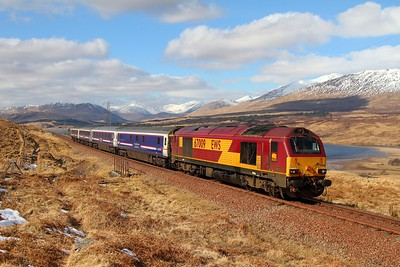 67009 1Y11 Edinburgh to Fort William at Achallader running about 3 hours late due to the failure of 67004  67004 was dumped at Dumbarton Central and 67009 took the train forward  1st April 2013