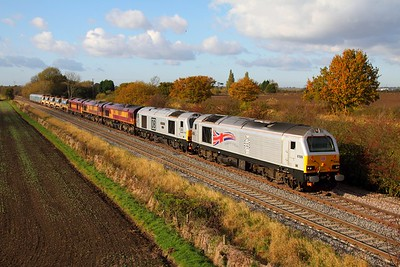 67026+67029+66047+66063+60065 on the 6D44 Bescot to Toton at Barrow upon Trent on the 5th November 2012