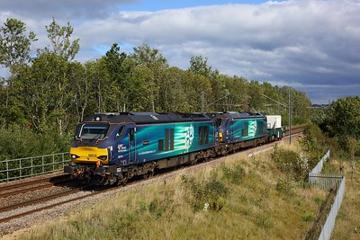 68016 leading 68004 working 6M60 Seaton to Sellafield at Fellgate on 3 September 2020  DRS, Class68, TyneandWear