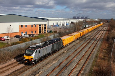 68013 on the 6U77 Mountsorrel to Crewe Basford Hall at Castle Donnington on the 4th March 2015