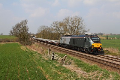 68011 on the 6Z44 Bescot to Toton at Chellaston on the 9th April 2015