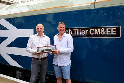 Bob Tiller Engineering Director and with 42 years on the railway names 69002 at London Waterloo on 10 July 2021  GBRF, NamingCeremony, Class69