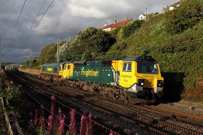 70005 leading 66546 on 6K27 Carlisle to Crewe BH at Hest Bank on 6 August 2012  Class70, Freightliner, WCMLNorthWest