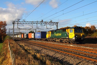 70004 at Acton Bridge working the 4K45 Ditton to Felixstowe freightliner on the 10th November 2012