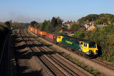 70002 on the 4O70 0958 Wentloog to Southampton at Undy on the 12th October 2015 1