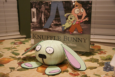 This was a project for my son (Ryan).  He read a story and, since it was close to Halloween, we had to take a pumpkin and make it look like the stuffed animal (Knuffle Bunny) in the book.  ...mission accomplished!